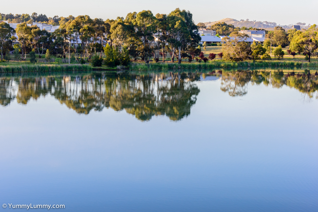 The water of Lake Ginninderra is still and reflective  NIKON D810 with 28.0-300.0 mm f/3.5-5.6 at 72mm and f/11, 1/60sec, ISO 450