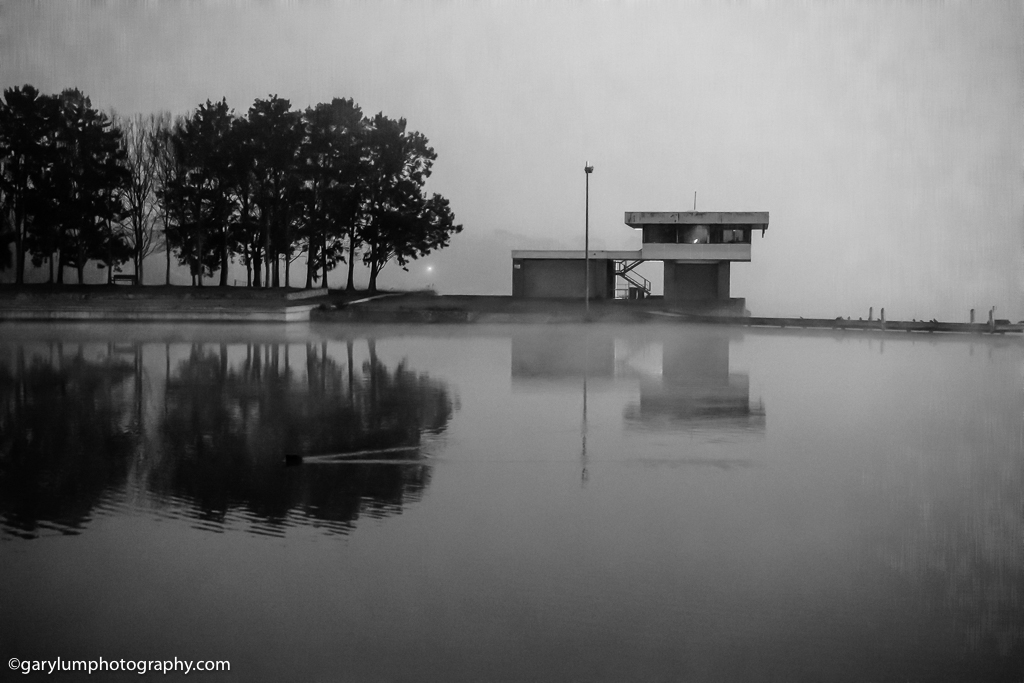 Lake Ginninderra Black and white reflections