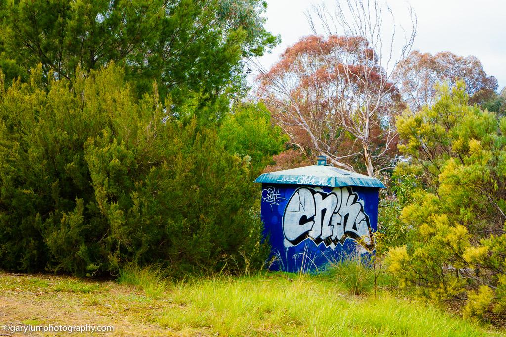 Lake Ginninderra shed with graffiti